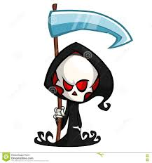 cute halloween images cute cartoon grim reaper with scythe isolated on white cute