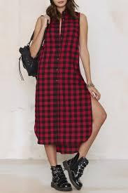 button down red plaid sleeveless lapel maxi shirt dress