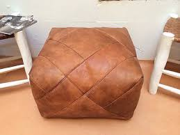 square leather moroccan pouf ottoman natural brown leather ottoman