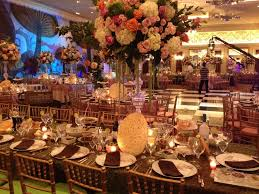 centerpieces for party tables in bat mitzvah party theme by morrell caterers