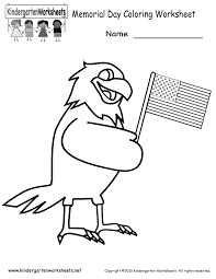 memorial day coloring worksheet free kindergarten holiday