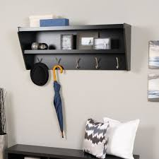 furniture black wooden coat rack with shelf and five steel hooks