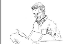 sketch face man drinking coffee 5 08 09