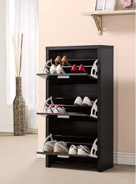 entryway rack black color modern closed shoe rack cabinet with 3 drawer storage