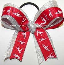 ribbon for hair that says gymnastics gymnastics red silver ponytail holder bow red gymnast hair bow