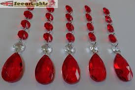 Red Chandelier by 5 Xl Chains Retro Vintage Red Chandelier Drops Glass Crystals