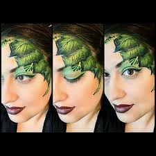 green leaves face painting by glitter goose leaf autumn fall