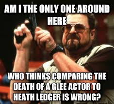 Glee Meme - this glee actor can never be a what heath ledger was meme guy