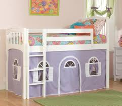 Bunk Beds And Lofts Bedroom Interior White Wooden Bunk Bed With Purple White Tent