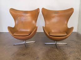 Antique Leather Swivel Chair Vintage Leather Egg Chairs By Arne Jacobsen At 1stdibs