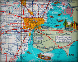 Map Of Michigan Roads by Lake Michigan Retro Map Print Funky Vintage Turquoise Photo