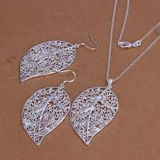 silver plated necklace images Large hollow leaf two piece jewelry set with 925 sterling silver jpg