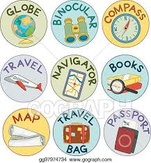 travel stickers images Vector clipart geography travel sticker labels illustration jpg