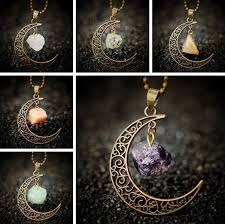 crystal necklace stone images Crescent moon natural stone crystal necklace the enchanted forest jpeg