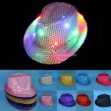 led jazz hats light up led fedora trilby sequins caps