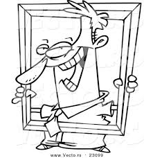 vector of a cartoon businessman holding up a frame coloring page