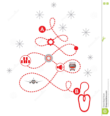 christmas logistics icons pathway in the shape of christmas tree