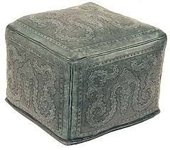 tooled turquoise leather ottoman western ottomans free shipping