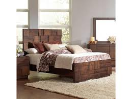 coaster gallagher queen bed with geometric layered wood patterns