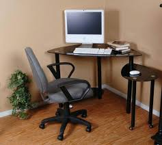 Black Corner Computer Desks For Home Small Glass Corner Computer Desk L Shape Attractive Black Metal