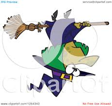clipart of a cartoon green halloween witch flying upside down
