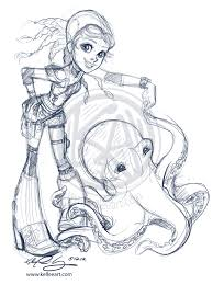 dances with octopus quick sketch by kelleeart on deviantart