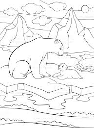 coloring pages mother polar bear cute baby stock vector