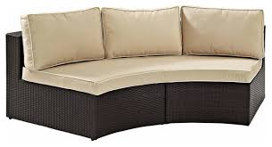 catalina outdoor wicker round sectional sofa with sand cushions