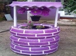 tire wishing well planter home u0026 garden do it yourself
