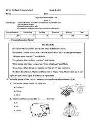 worksheet grade 2 exam