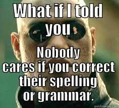 Grammer Nazi Meme - grammar nazi indifference quickmeme