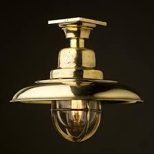 Brass Ceiling Light Brass Caged Reflector Ceiling Light
