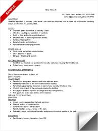 Security Job Description Resume by Sample Objective And List Of Skills Resume For Security Guard