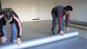 Linoleum Floor Installation How To Install Garage Flooring Rolls Garage Flooring Inc Youtube