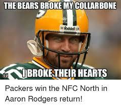 Packers Bears Memes - the bears broke mycollarbone riddell kaibrokentheir hearts packers