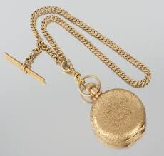pocket watch chain necklace images An elgin 14k gold hunter case pocket watch with chain 05 27 11 jpg