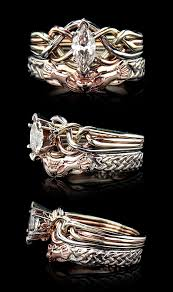 celtic wedding sets celtic wedding set marquise puzzle ring with claddagh