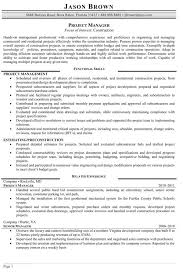 Resume Template Project Manager Sample Resume For Construction Manager Resume Ideas