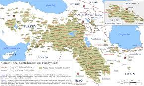 Syria Turkey Map by Kurdish Tribal Confederacies Clans In Kurdistan Iraq Turkey