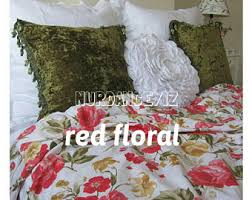 rose print shabby chic bedding red green pink purple roses