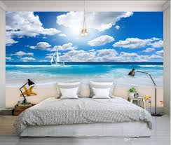Wall Murals 3d Blue Sky White Clouds Seaside Background Wall Mural 3d Wallpaper