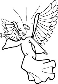 winged angels halo blowing trumpet coloring color luna