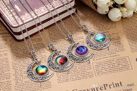 s day necklace with children s names 24pcs lot children pendant necklace neck chain crescent rhinestone