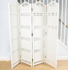 wicker room divider screen in white ebth