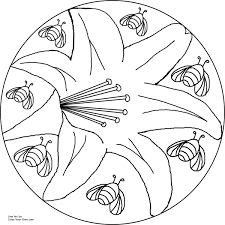 lily and bee mandala coloring page
