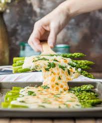 three cheese asparagus gratin