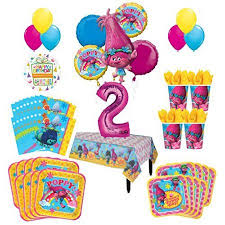 balloon bouquest trolls poppy 2nd birthday party supplies 16 guest kit and balloon