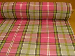 Pink Tartan Curtains Elgin Pink Lime Wool Effect Washable Thick Tartan Curtain Fabric