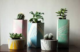 large concrete succulent planter hand painted jam art factory