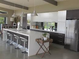 kitchen island bench concept pictures photos and images of home high gloss island kitchen bench top with funnel hanging lights over swivel stools added modern kitchen cabinet decors in open aprtment kitchen designs